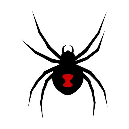 Zwarte weduwe spin met rode markering flat vector pictogram van apps en websites