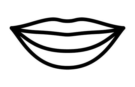 Smiling lips with white teeth or smile line art vector icon for apps and websites Illustration