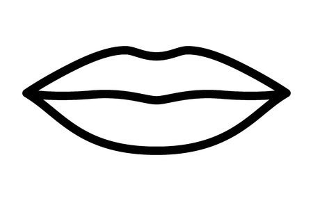 closed mouth: Womans lips for kissing  kiss line art vector icon for apps and websites Illustration