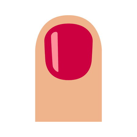 Short fingernail  finger nail with red glossy nail polish flat vector icon for apps and websites Ilustrace