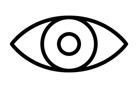 Eye retina scan or optometry eye exam thin line art vector icon for apps and websites