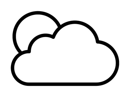 partly: Cloudy or cloud partly blocking the sun line art vector icon for weather apps and websites Illustration