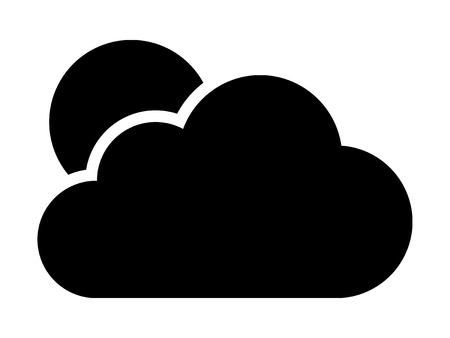 partly: Cloudy or cloud partly blocking the sun flat vector icon for weather apps and websites Illustration