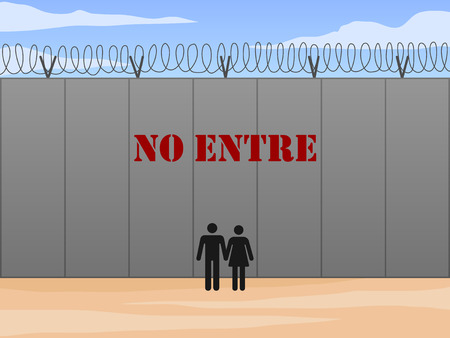 do not enter: Border wall between United States and Mexico with do not enter sign in Spanish vector illustration Illustration