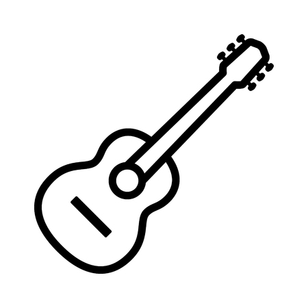 Acoustic guitar musical instrument line art icon for music apps and websites.