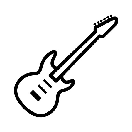 reverb: Electric guitar musical instrument line art vector icon for music apps and websites