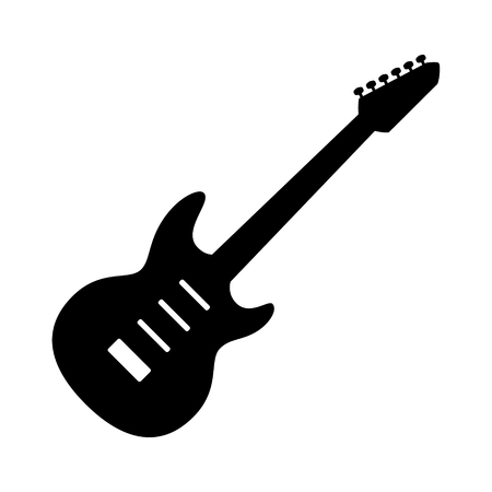 Electric guitar musical instrument flat vector icon for music apps and websites Illustration