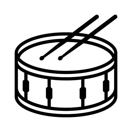 Rullante o tamburo a fianco con bacchette musicale linea strumento icona vettore per applicazioni musicali e siti web Vettoriali