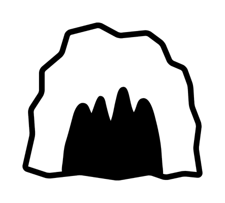 animal den: Cave  cavern, animal den or dungeon line art vector icon for apps and games