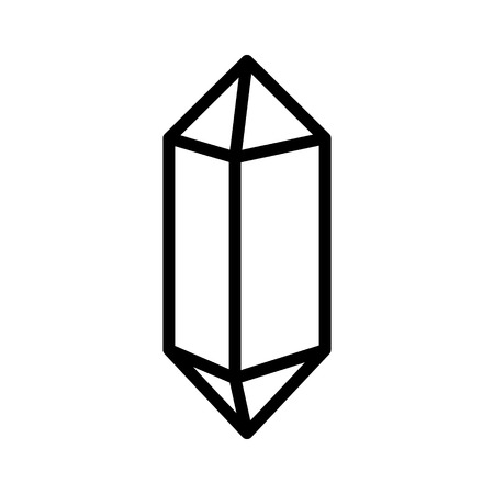 crystalline: Quartz crystal or crystalline solid line art vector icon for apps and websites
