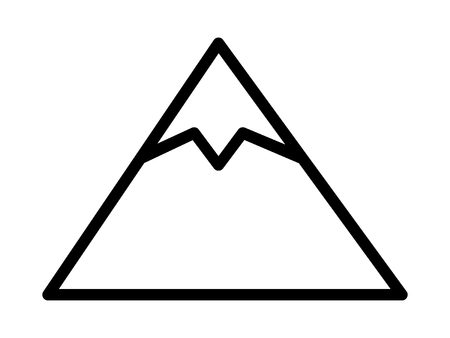 Tall mountain peak with snow line art vector icon for outdoor apps and websites