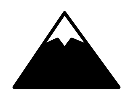 tall: Tall mountain peak with snow flat vector icon for outdoor apps and websites
