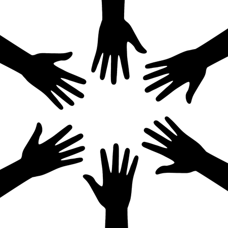 team hands: A set of hands symbolizing a team or teamwork flat icon for business apps and websites