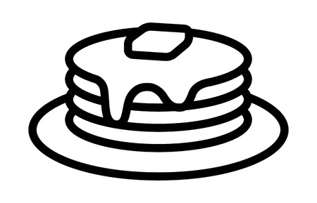 Breakfast pancakes with syrup and butter on a plate line art icon for food apps and websites Vettoriali