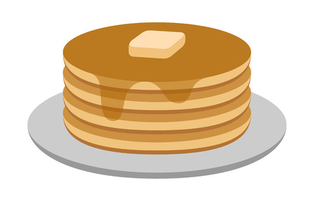 Breakfast pancakes with syrup and butter on a plate flat color icon for food apps and websites
