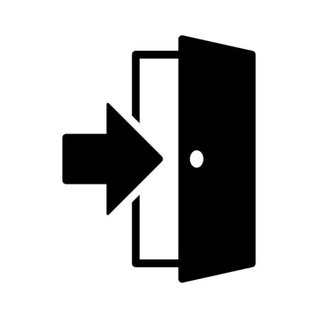 Open door  entrance with arrow or logout flat vector icon for apps and websites