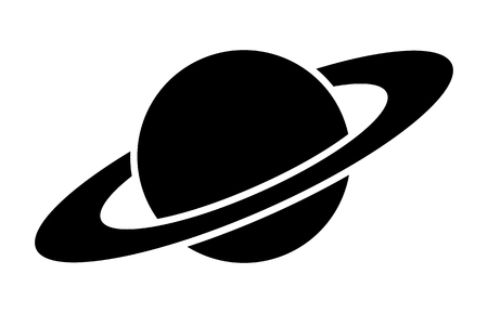 gaseous: Planet Saturn with planetary ring system flat icon for astronomy apps and websites