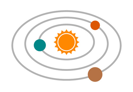 Solar system with the sun and planets on orbits flat color vector icon for apps and websites Illustration