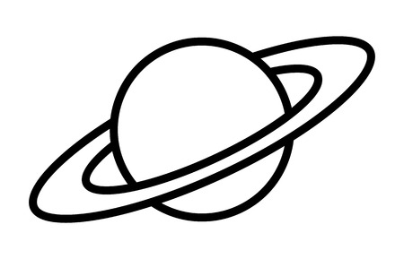 gaseous: Planet Saturn with planetary ring system line art icon for astronomy apps and websites