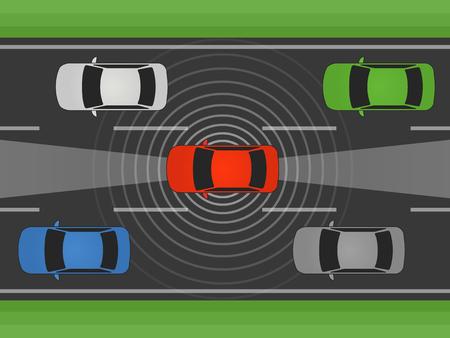 yo autónomo que conduce el coche, vehículo o automóvil con lidar y la ilustración vectorial plana de radar
