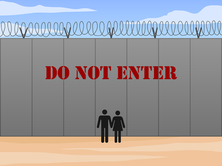 Border wall between United States and Mexico with do not enter sign in English vector illustration 矢量图像