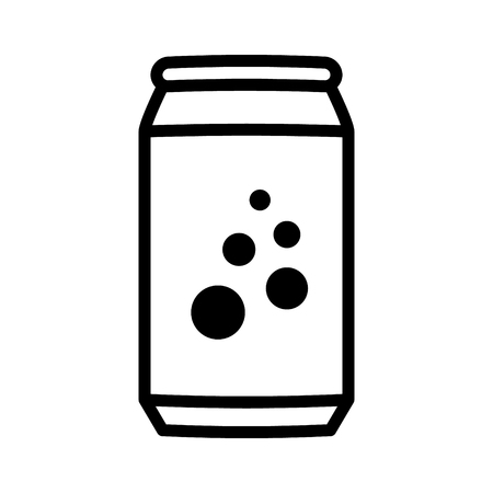softdrink: Soda pop  soft drink or beer can line art vector icon for apps and websites