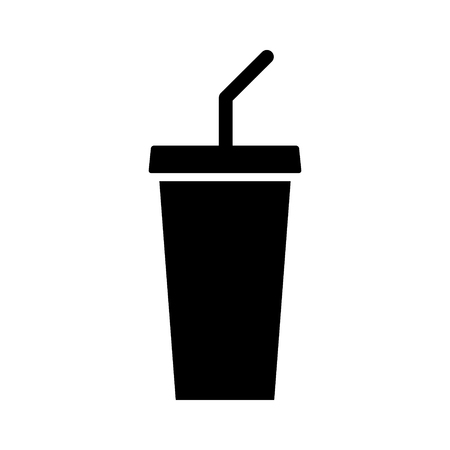 tonic: Soda beverage or soft drink with straw flat vector icon for food apps and websites Illustration
