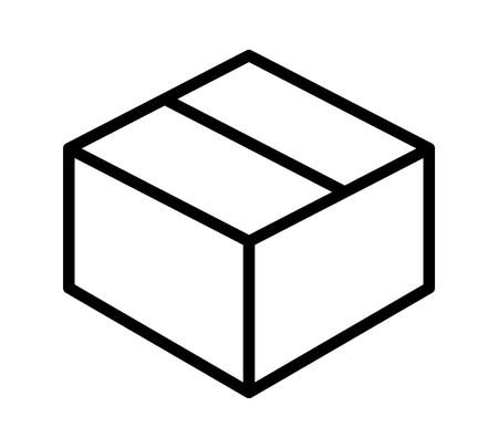 Caja de cartón de envío o icono de vector de arte de línea de arte para aplicaciones y sitios web Foto de archivo - 77108250