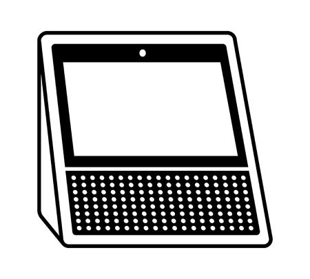 Blanco altavoz inteligente asistente personal de la pantalla vista lateral plana icono vectorial para aplicaciones y sitios web Ilustración de vector