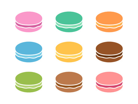 Colorful macaroons or macarons sweet confection flat color icon for food apps and websites