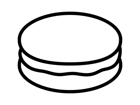 Macaroon or macaron sweet meringue confection line art vector icon for food apps and websites