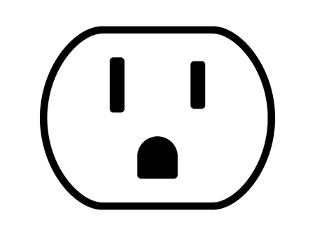 wall mounted: NEMA 5-15 grounded power outlet  ac socket line art vector icon for apps and websites Illustration