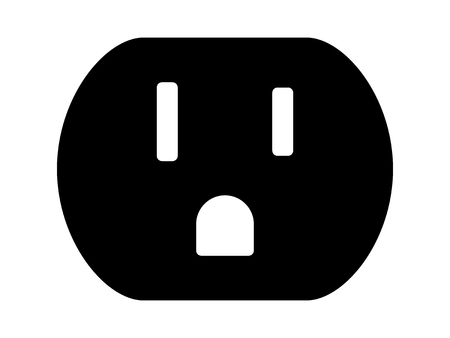 ac voltage source: NEMA 5-15 grounded power outlet  ac socket flat vector icon for apps and websites