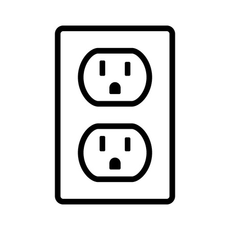 Two NEMA 5-15 grounded power outlet  ac socket line art vector icon for apps and websites