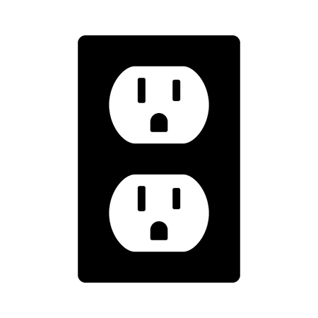 ac voltage source: Two NEMA 5-15 grounded power outlet  ac socket flat vector icon for apps and websites Illustration