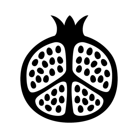 Pomegranate fruit cut in half flat vector icon for food apps and websites