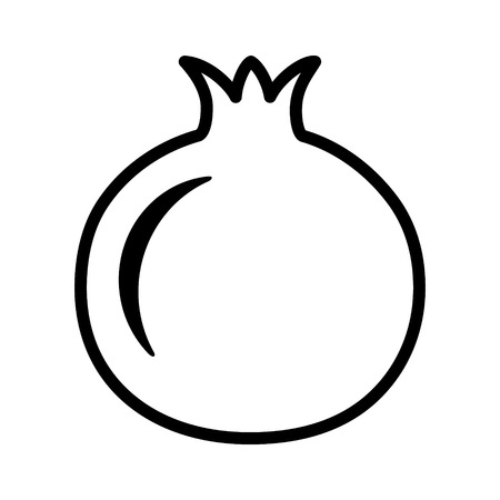 Pomegranate fruit line art vector icon for food apps and websites