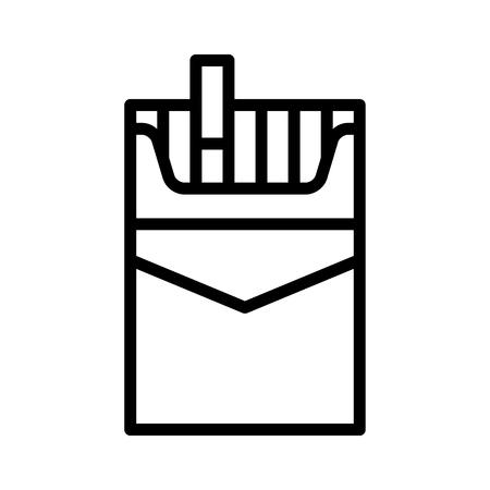 Un pacchetto di sigarette o icona vettoriale di arte della linea di sigarette per applicazioni e siti web Vettoriali