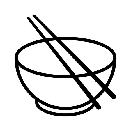 Kom met stokjes lijn kunst vector icoon voor voedsel apps en websites Stock Illustratie