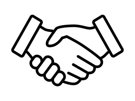 ビジネス ハンドシェイク契約のアプリとウェブサイトの契約細い線アートのベクトル アイコン