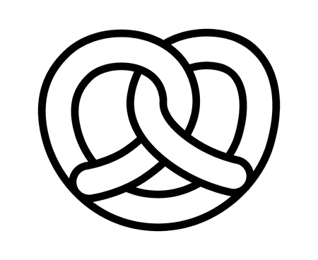Soft pretzel twisted knot bread line art vector icon for apps and websites Illustration