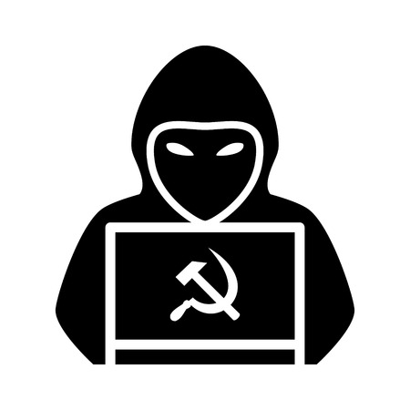 Russian hooded hacker with laptop computer flat vector icon for apps and websites