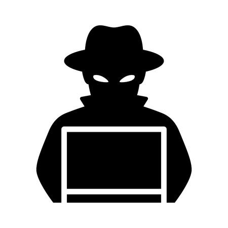 hacker del computer nero con l & # 39 ; icona piana del computer portatile portatile per applicazioni e siti web