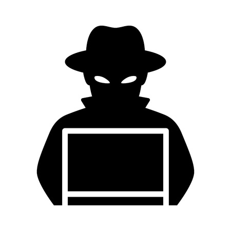 Black hat hacker with laptop computer flat vector icon for apps and websites Stock Illustratie