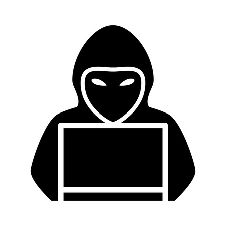 Mysterious hooded hacker with laptop computer flat vector icon for apps and websites