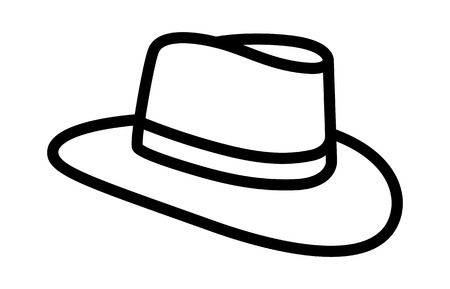 Cowboy hat or country stetson hat line art icon for apps and websites Illustration