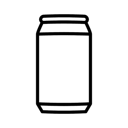 Aluminum soda or beer can line art vector icon for apps and websites Illustration