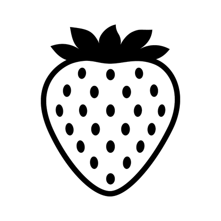 Garden strawberry fruit or strawberries line art vector icon for food apps and websites Illustration