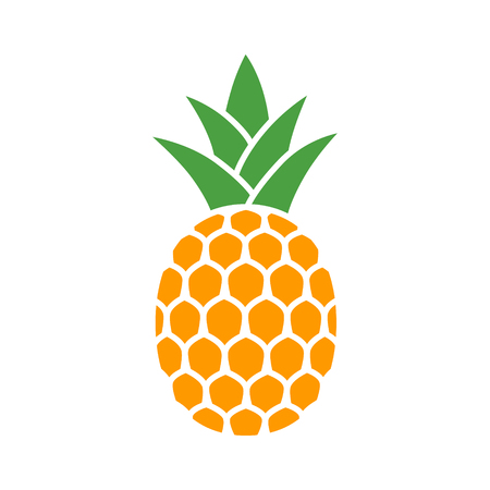 Pineapple tropical fruit with leaves flat color vector icon for food apps and websites