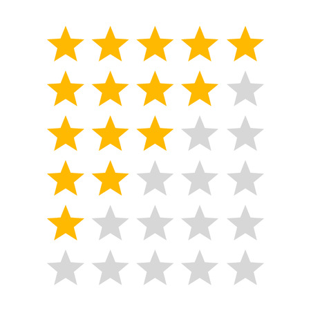 criticism: Product rating or customer review feedback with gold stars line art vector icons for apps and websites